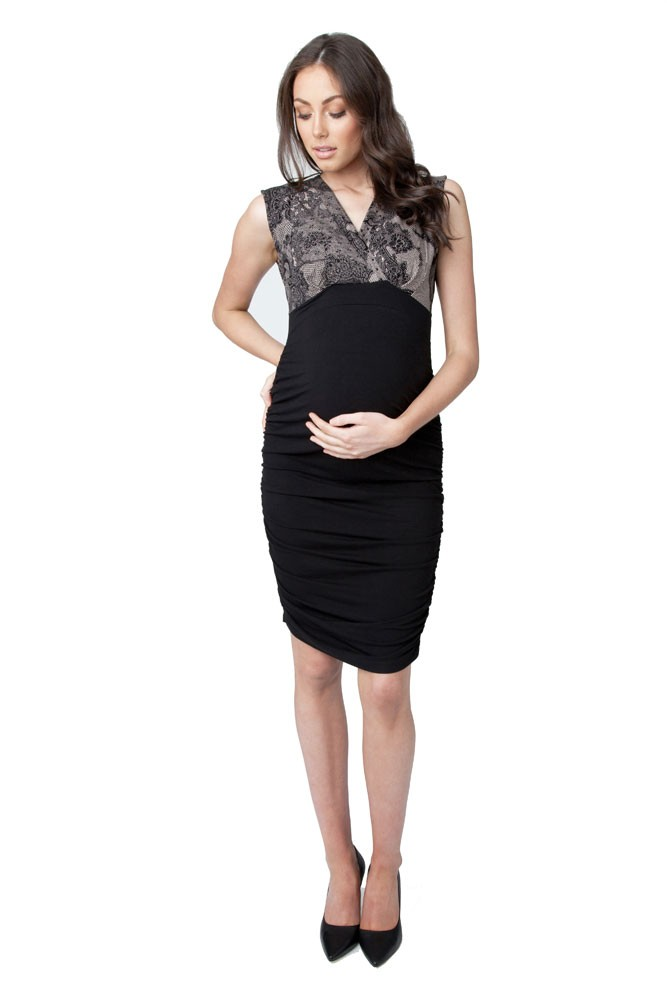 Lourdes Chantilly Maternity & Nursing Dress (Nude/Black)
