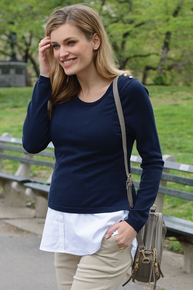 Seraphine Alanis Maternity & Nursing Sweater (Navy & White)