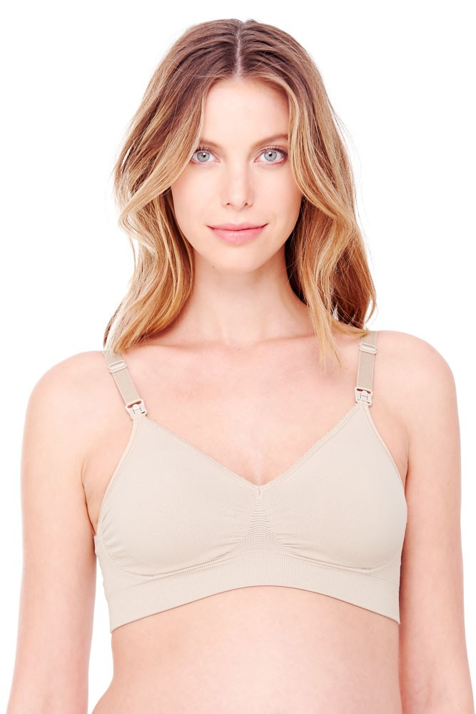 35d18549fd6f8 Ingrid & Isabel Seamless Drop Cup Back Clasp Nursing Bra in Nude