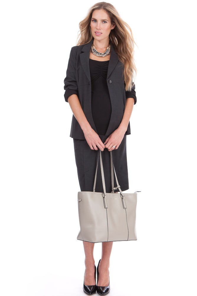 Seraphine Carol Wool Career Maternity Skirt (Charcoal)