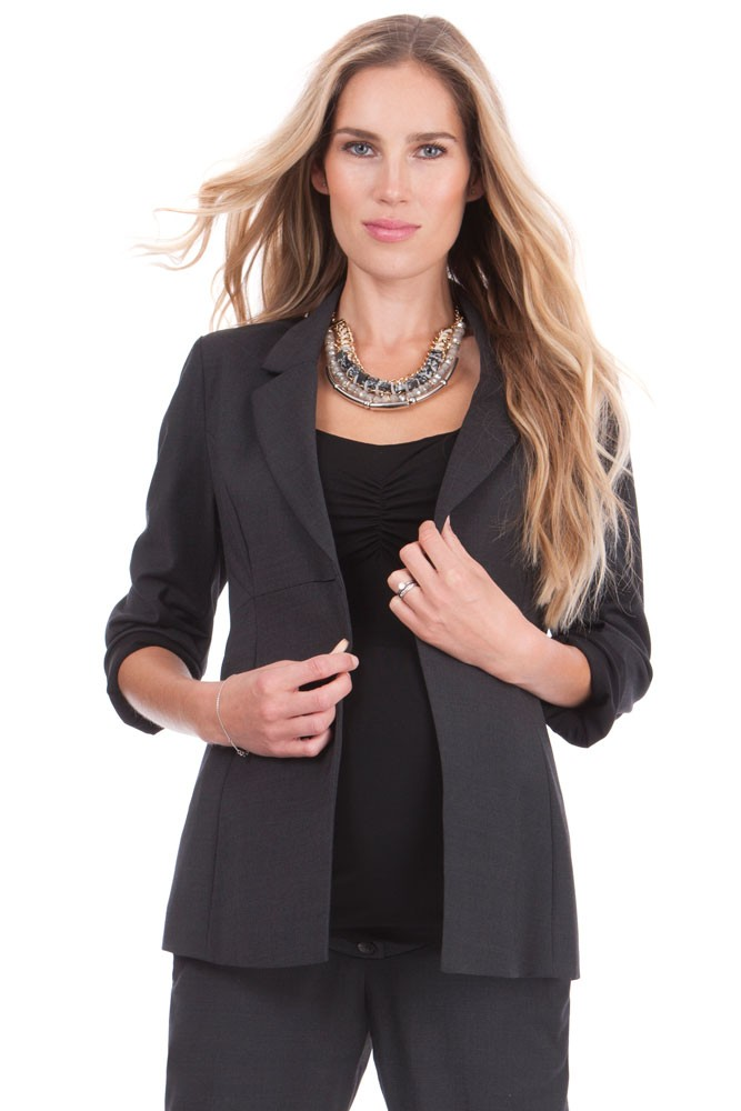 Seraphine Carol Wool Career Maternity Jacket (Charcoal)
