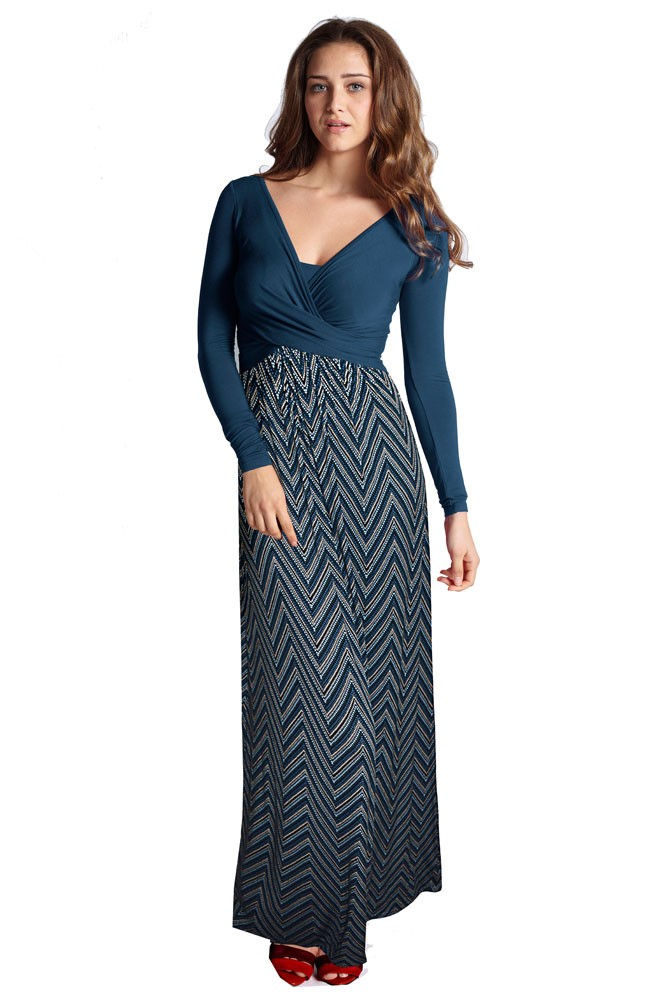 Ava Long Sleeve Wrap Maternity & Nursing Maxi Dress (Dotted ZigZag)