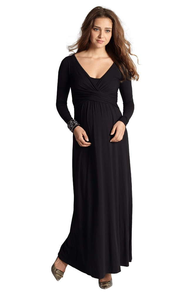 Ava Long Sleeve Wrap Maternity & Nursing Maxi Dress (Black)