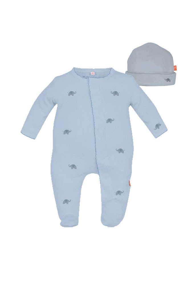 Magnificent Baby Magnetic Me™ Darjeeling Express Baby Boy Footie & Hat Set (Blue)