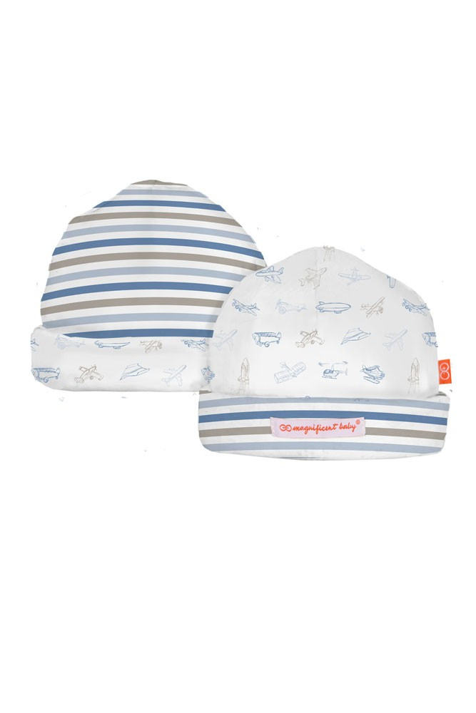 Magnificent Baby Magnetic Me™ Reversible Baby Boy Hat (Airplane)