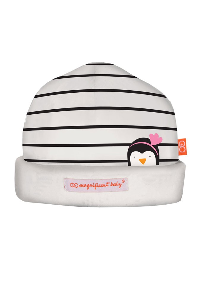 Magnificent Baby Magnetic Me™ Party Penguins Baby Girl Hat (Penguin Pink)