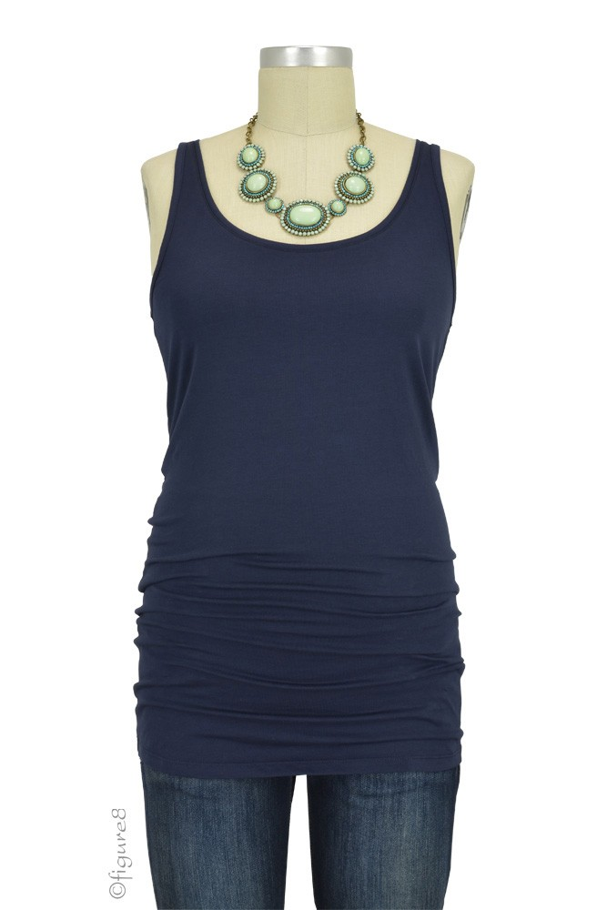 Must-Have Long Maternity Tank (Navy)