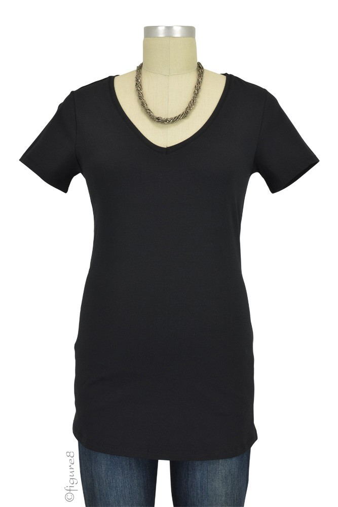 Must- Have Short Sleeve V-Neck Maternity Tee (Black)