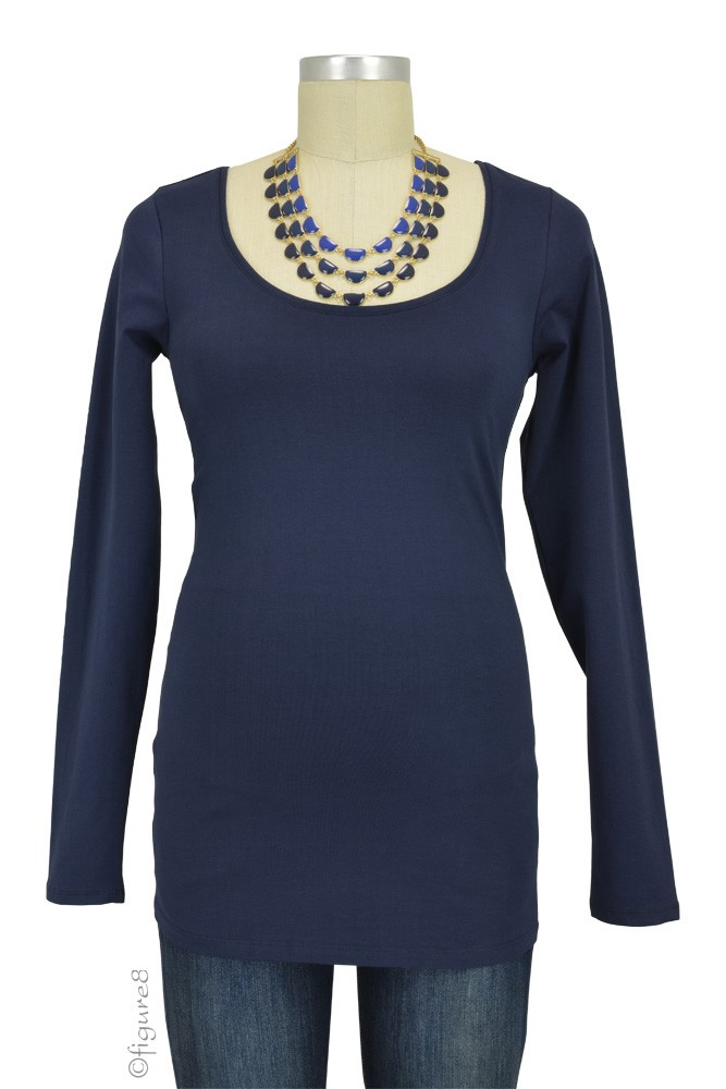 Must-Have Long Sleeve Maternity Tee (Navy)