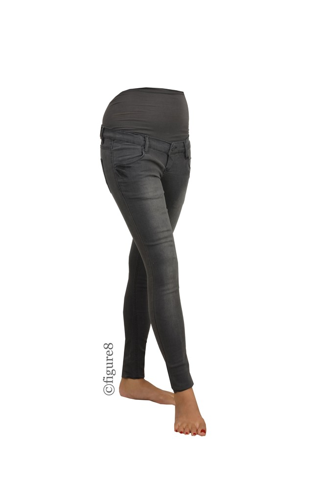 Mia Skinny Over/Under Maternity Jeans (Grey Denim)