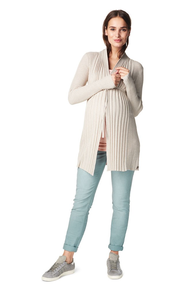 Annie Knitted Maternity Cardigan (Sand Melange)