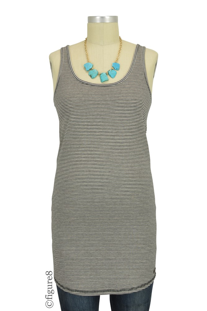 Josie Long Maternity Tank (Dark Shadow Stripes)