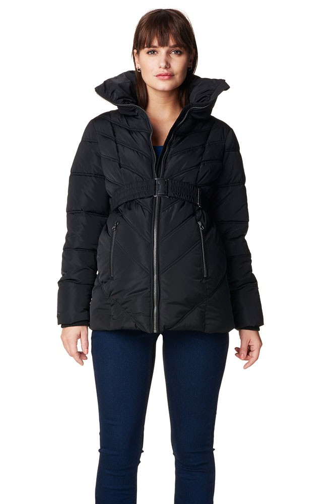 Leslie Quilted Maternity Coat (Black)