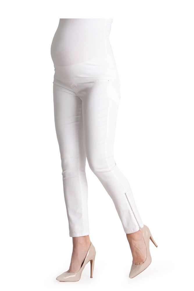 Seraphine Zoey Cropped Underbump Maternity Jeans (White)