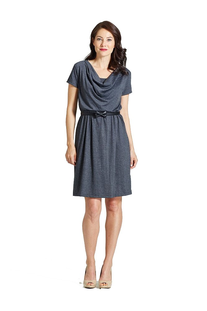 Milky Way Avery Cowl-Neck Maternity and Nursing Dress (Charcoal)