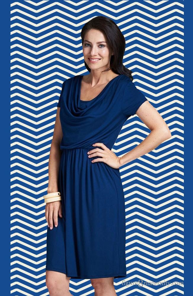 293e2c99795 Milky Way Avery Cowl-Neck Maternity and Nursing Dress in Navy