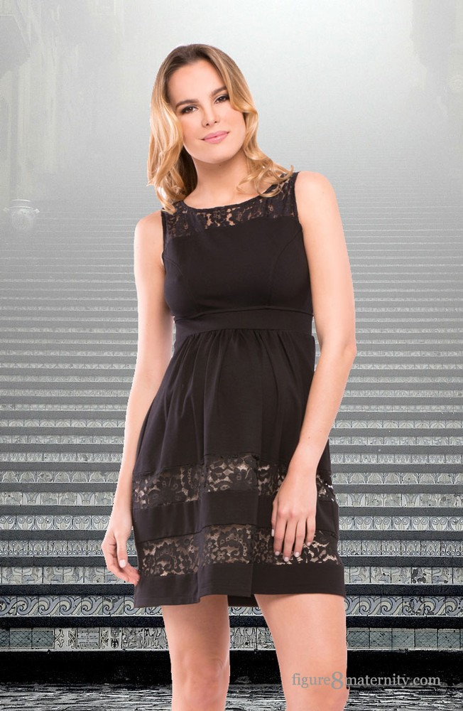 Olian Liza Ponte Maternity Dress (Black with Lace)