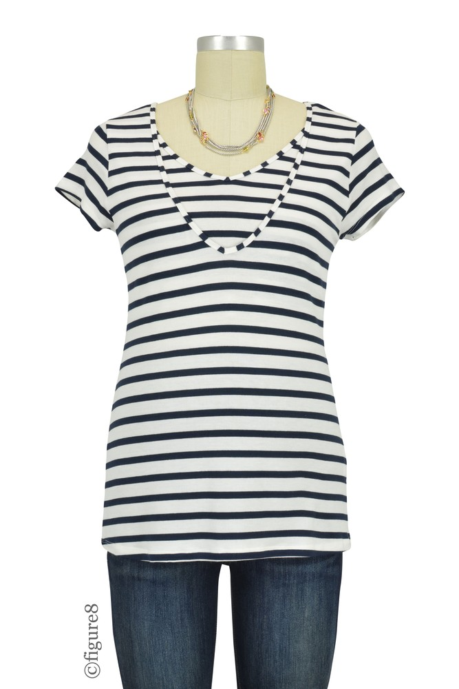 Lise V-Neck Nursing Top (Blue & White Stripes)