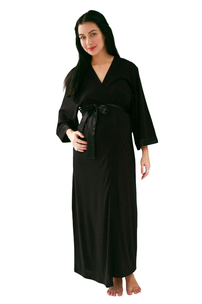 Belabumbum Moon Goddess Long Kimono Robe in Black