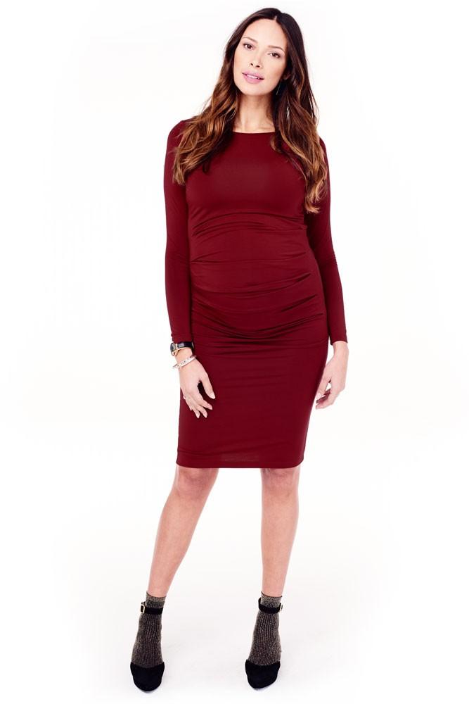 44fc6671b74 Ingrid   Isabel Long Sleeve Pleated Maternity Dress in Crimson