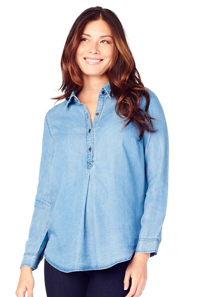 803c53097f855b Ingrid & Isabel Long Sleeve Pleated Maternity Shirt in Chambray