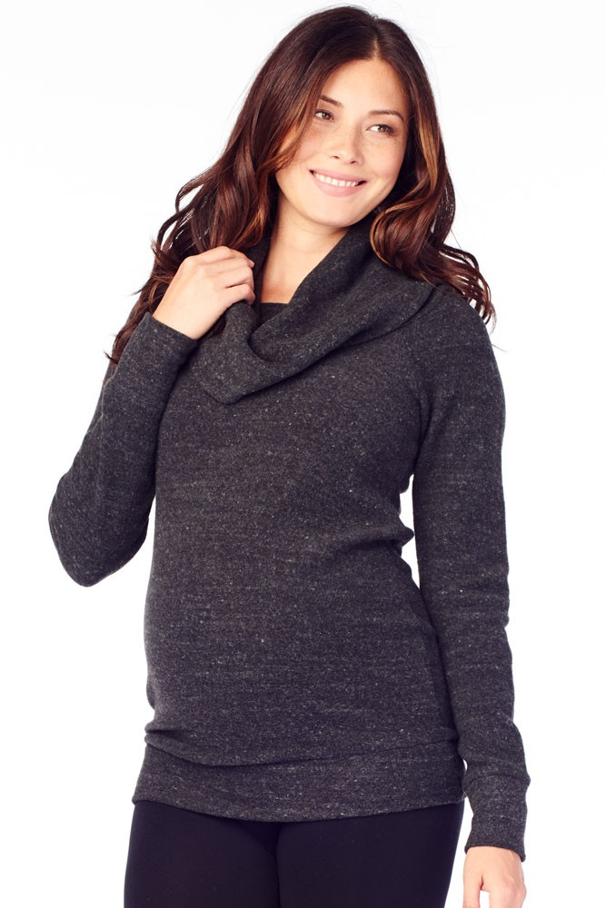 Ingrid & Isabel Cowl Neck Maternity Sweatshirt (Charcoal Black Triblend)