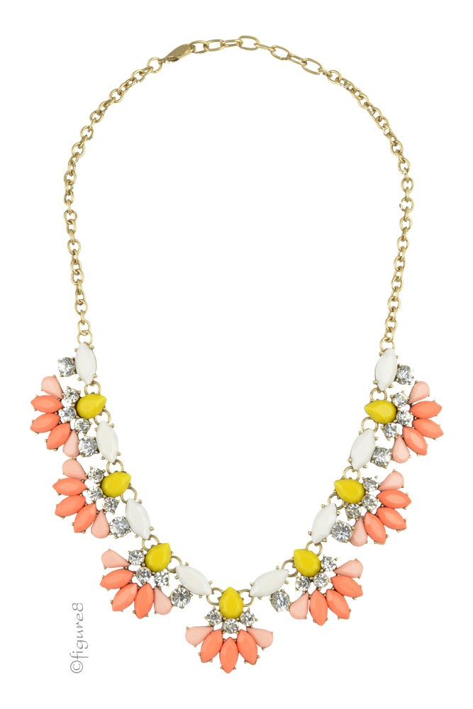 Flower Statement Necklace (Orange & Yellow)