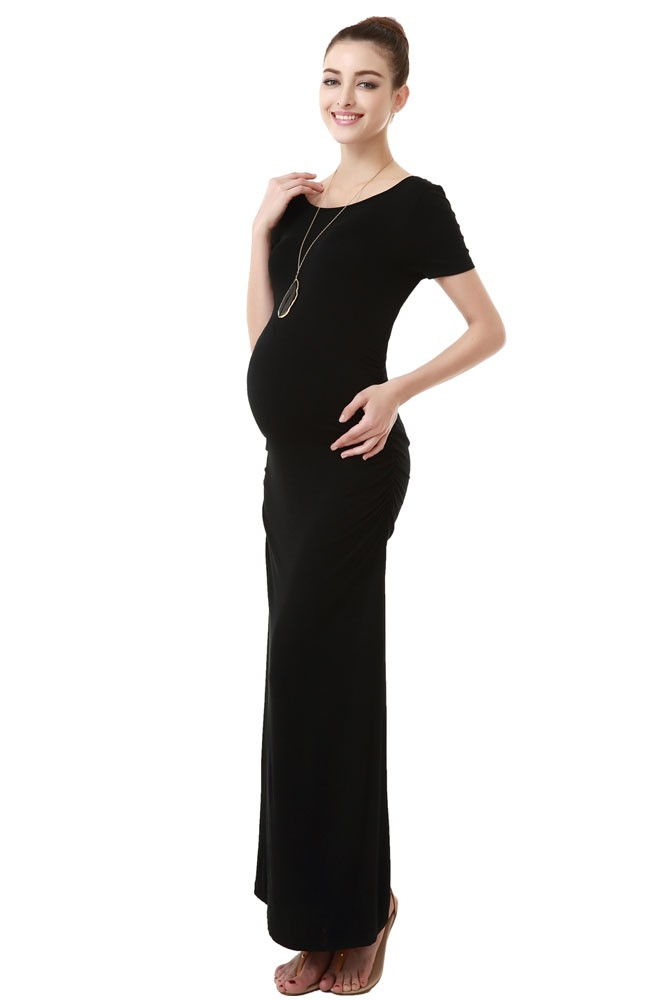 Angie T-Shirt Column Maternity Dress in Black by Kimi & Kai Maternity