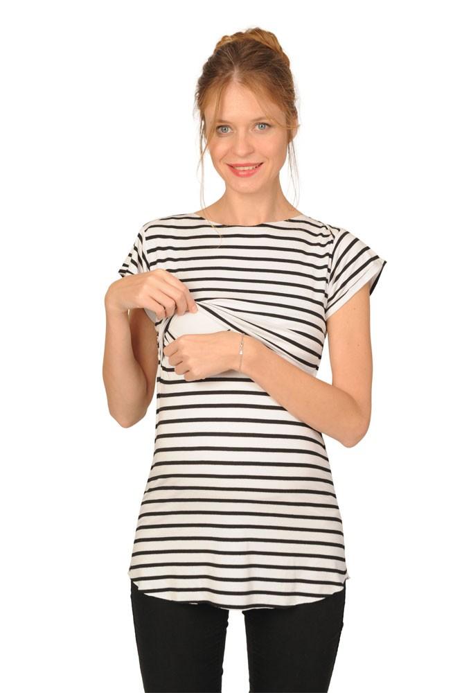 08e0829db73 Nautical Maternity   Nursing Tee in Black and White Stripe by Peek-a-boo
