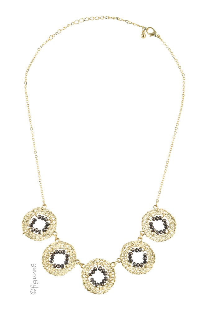 Aiden Wheel Necklace (Gold/Black)