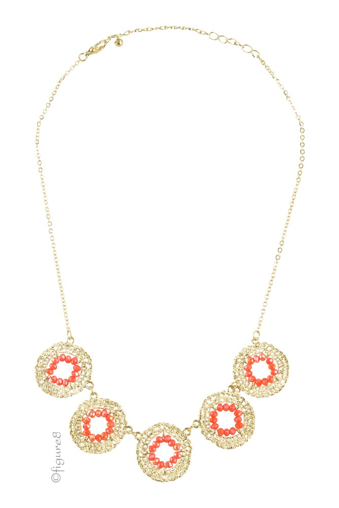 Aiden Wheel Necklace (Gold/Red)