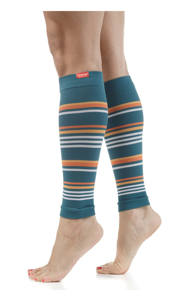 Vim & Vigr Compression Leg Sleeves (Malibu: Dark Teal & Creamsicle)