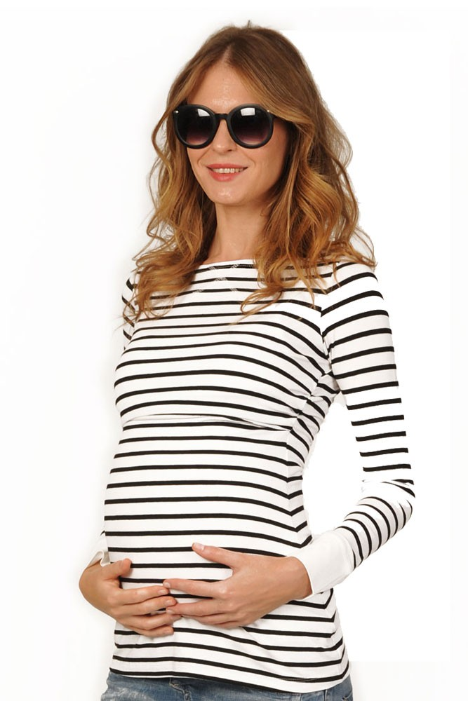 Peek-a-boo Long Sleeve Cuffed Maternity & Nursing Top (Black and White Stripe)