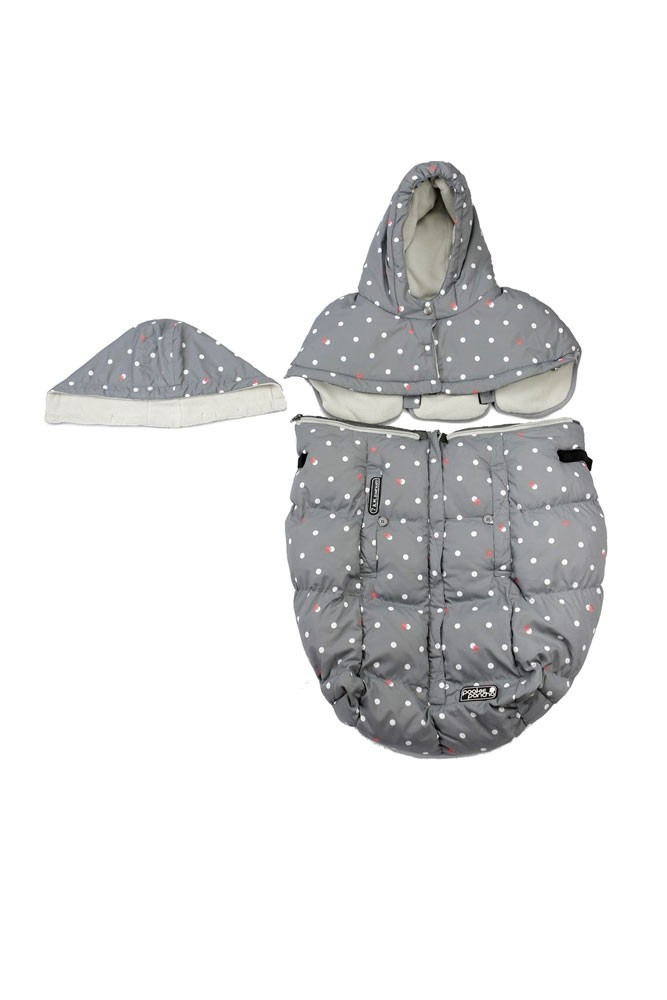 7 am Enfant Pookie Poncho - Special Collection (Grey Dots)