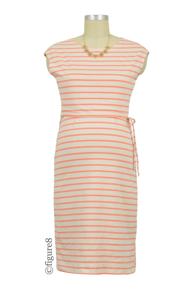 Boob Design Simone Organic Stripe Maternity & Nursing Dress (Stripe Off-White/Melon)