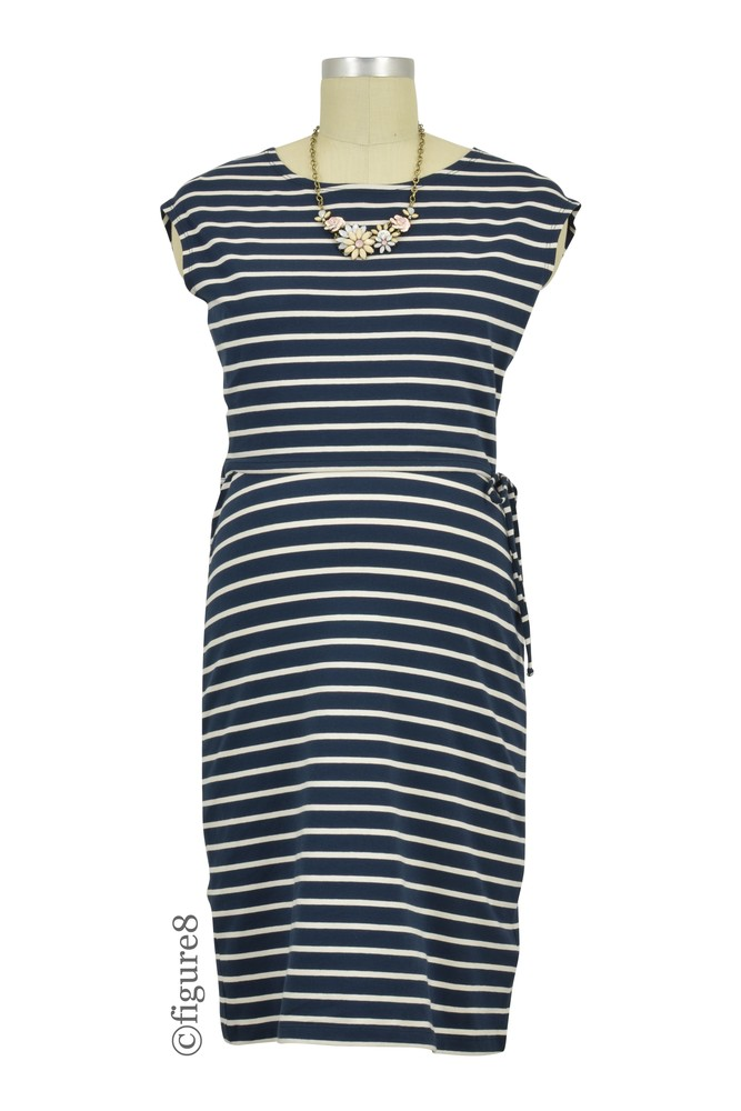 Boob Design Simone Organic Stripe Maternity & Nursing Dress (Stripe Midnight Blue/Off-White)