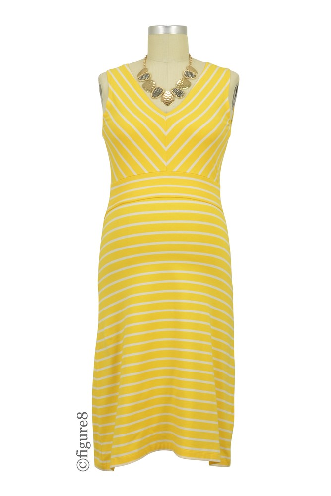 Boob Design Simone Organic Diagonal Stripe Maternity & Nursing Dress (Stripe Sunny Yellow/Off White)