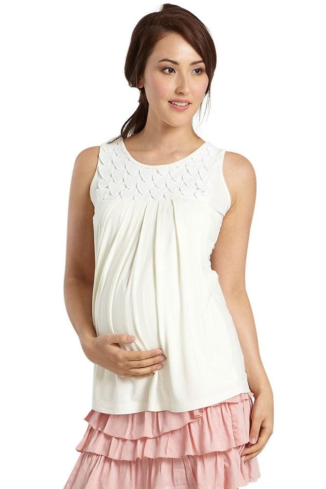 Je T'aime Sleeveless Maternity & Nursing Top in Off White ...