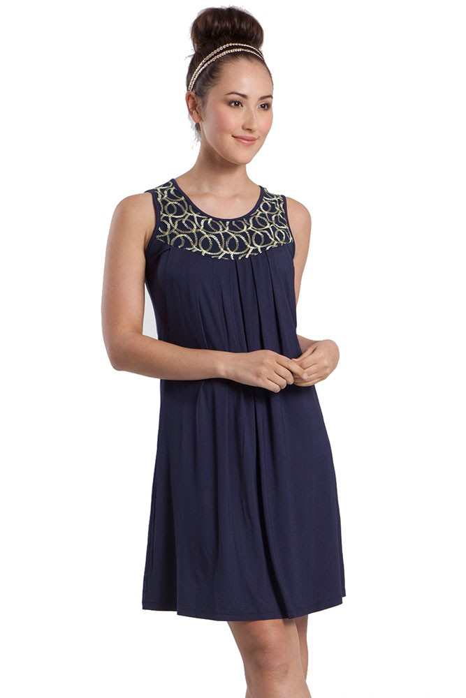 Tresor Sleeveless Maternity & Nursing Dress (India Ink)