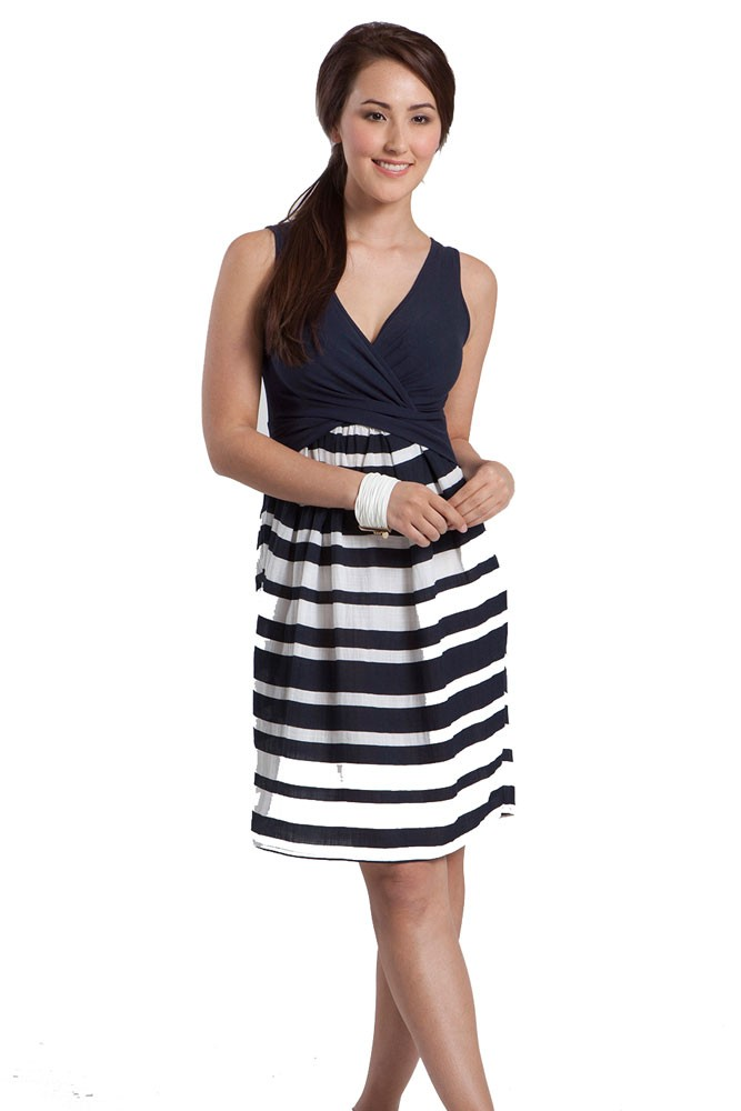 Kekoon Sleeveless Nursing Dress (Navy Stripe)
