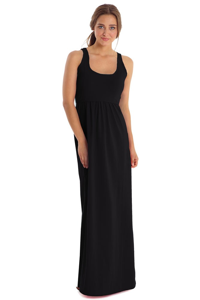 Avery Organic Cotton Maxi Nursing Dress in Black by Mothers en Vogue