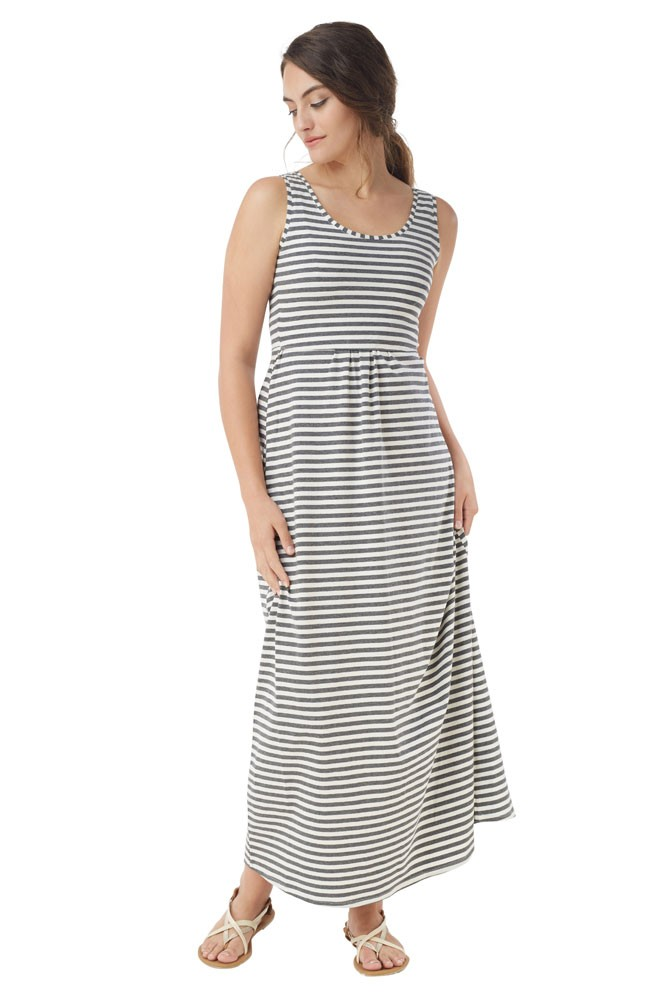 Avery Organic Cotton Maxi Nursing Dress (White Grey Stripes)