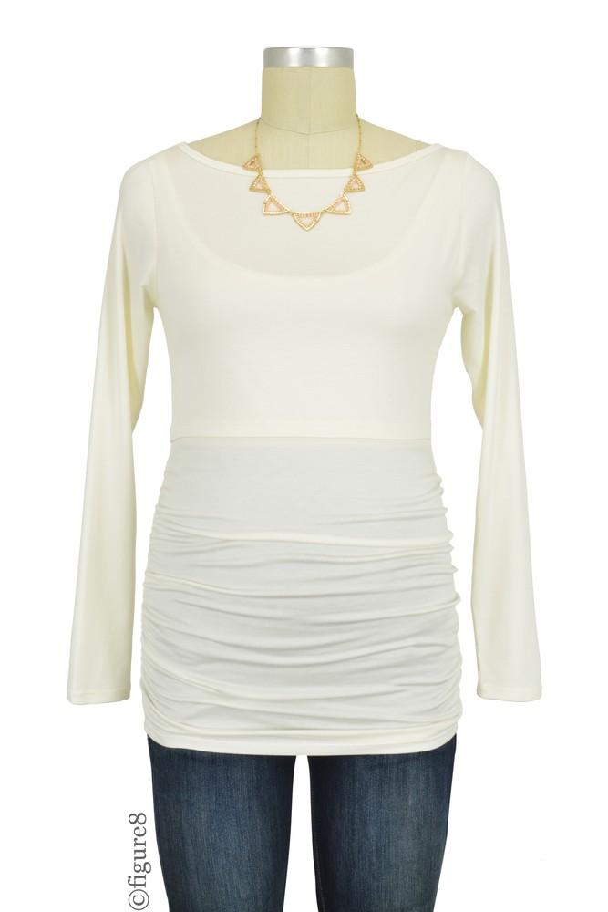 3e37fbf3cae76 Baju Mama Audrey Long Sleeve Boatneck Maternity   Nursing Top in Off-white