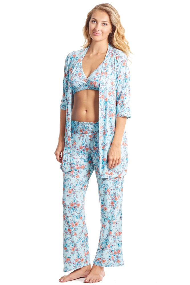 Susan 5-pc. Maternity & Nursing PJ Set with Gift Bag (Azure Mist)