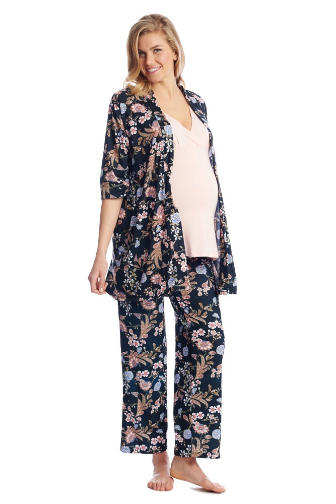 Susan 5-pc. Maternity & Nursing PJ Set with Gift Bag (Black Floral)