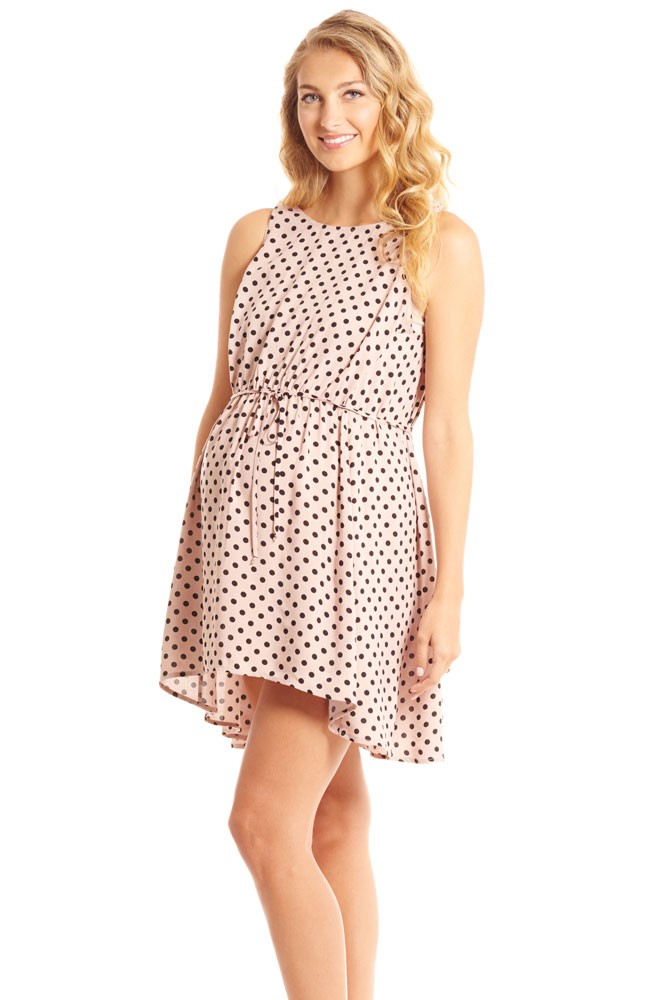 Crystal Woven Maternity & Nursing Dress (Blush Dot)