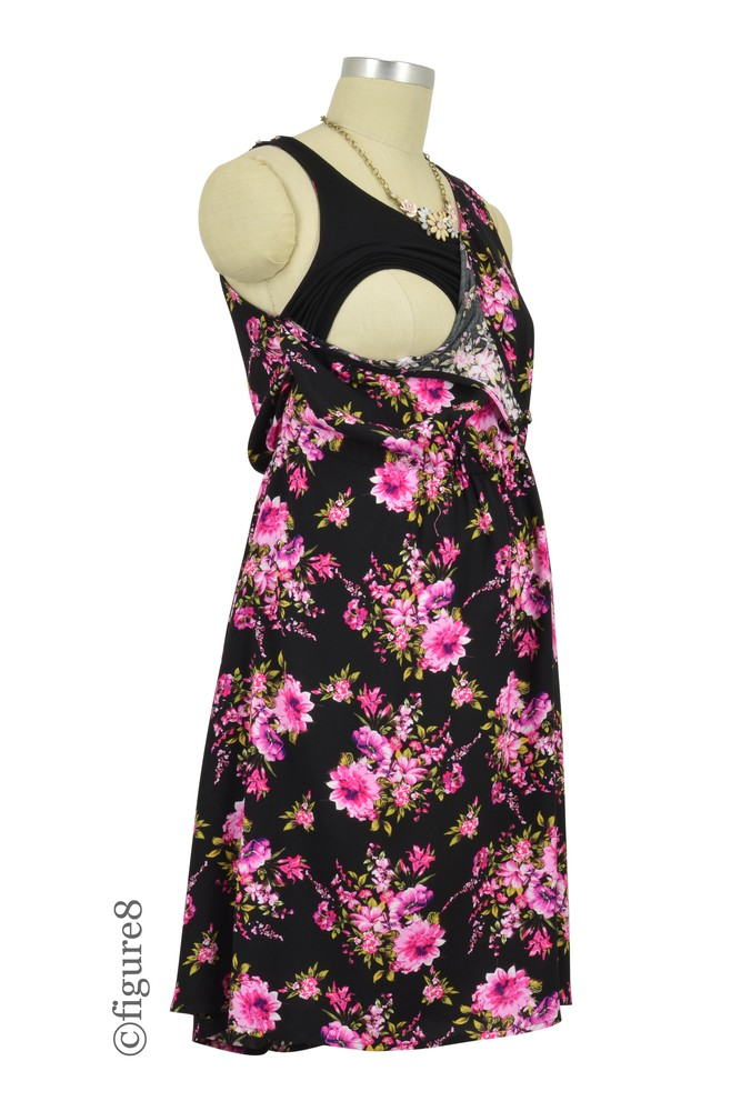 Crystal Woven Maternity Amp Nursing Dress In Black Floral By