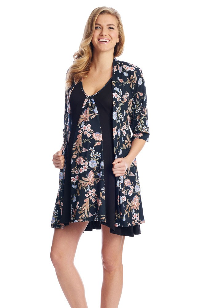 Dawn 4-Pc Nursing Chemise Set with Bra, Robe, & Gift Bag (Black Floral)