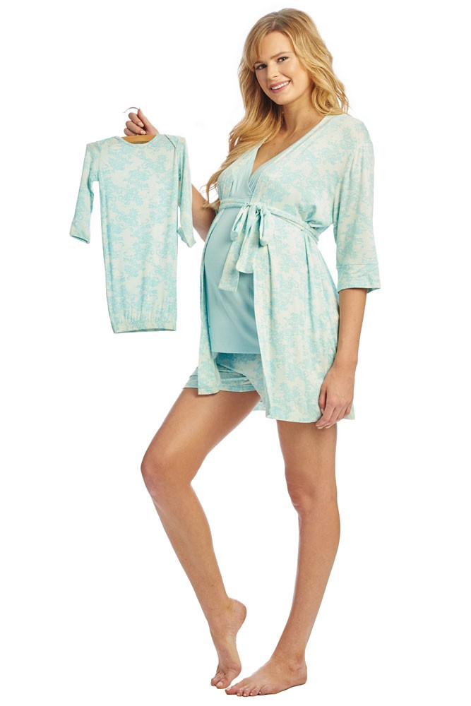 Adalia 5-Pc Nursing PJ Short Set with Baby Gown & Gift Bag (Blue Chantilly)