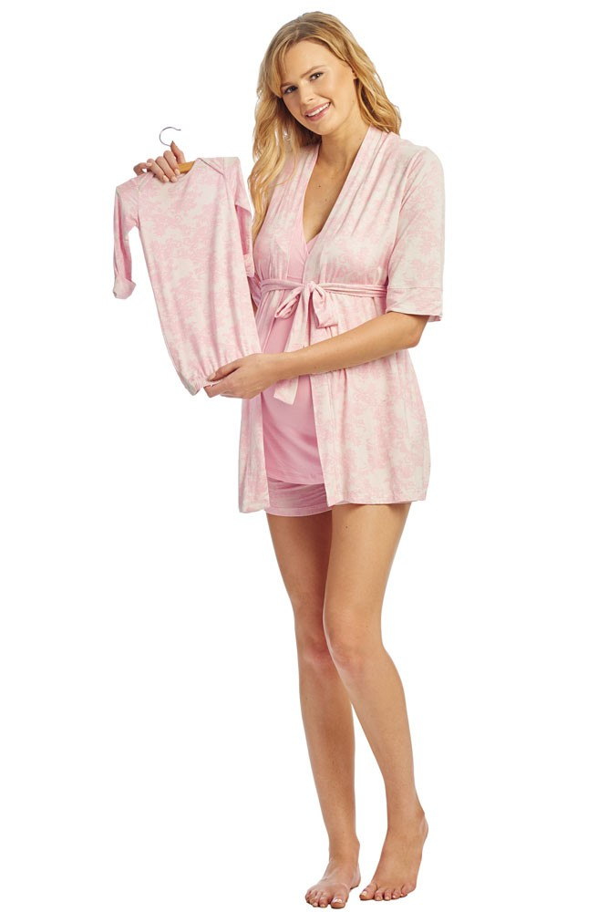 Adalia 5-Pc Nursing PJ Short Set with Baby Gown & Gift Bag (Pink Chantilly)